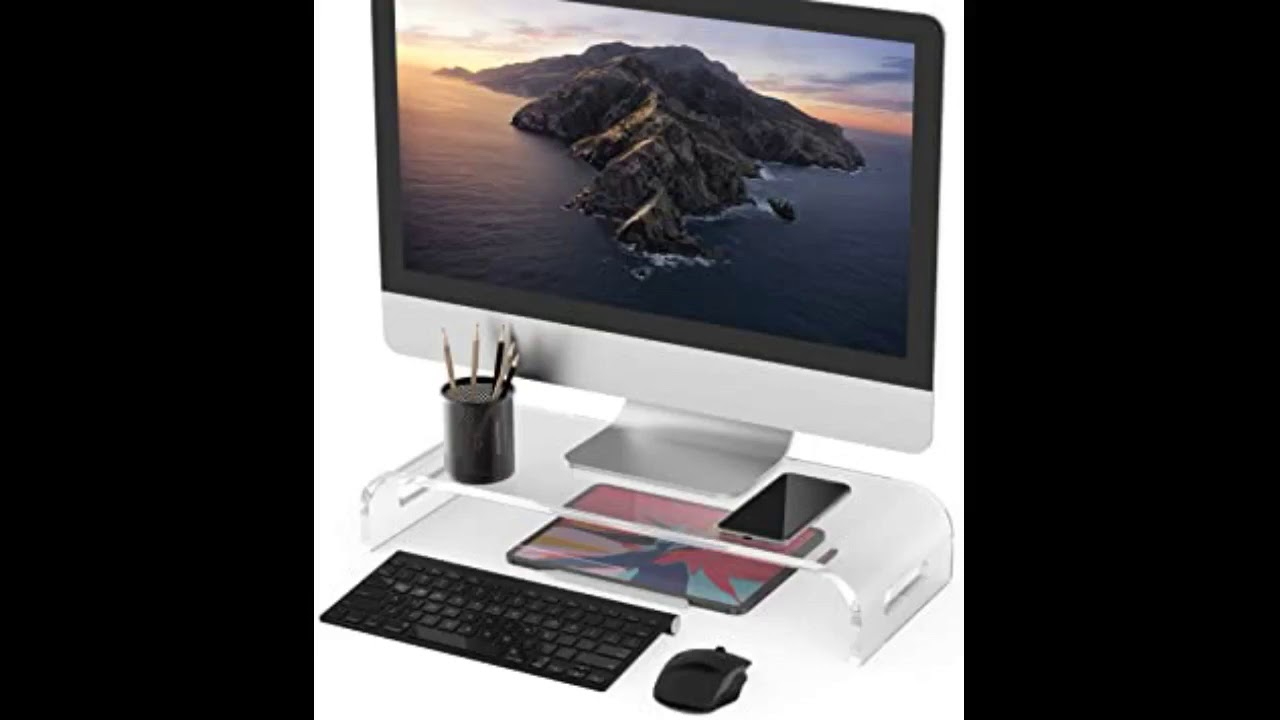 Review: Beimu Computer Monitor Stand Riser Clear Acrylic Laptop Stand Desk Monitor Riser for iM...